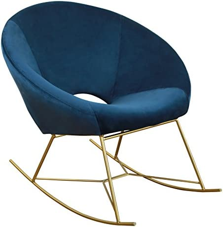 Best TOV Furniture The Nolan Collection Modern Velvet Upholstered Rocking Papasan Chair with Gold Base, S