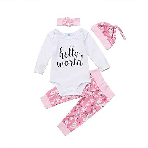 Pasgeboren Baby Jongen Meisje Leuke Lange Mouw Mijn Eerste Kerst Outfits Romper+ Broek + Boog Hoofdband + Hoed 4 Stks Xmas Kleding Sets