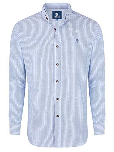 Almbock Trachtenhemd gestreift Männer - Trachtenhemd Herren in hellblau Größe M