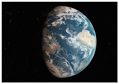 Panorama Aluminium Frame Aarde Vanuit de Ruimte 100x70cm - Gedrukt op Hoogwaardig Wit Dibond Aluminium - Foto's voor de Woonkamer - Ruimtebeelden - Decoratieve Bladeren - Moderne Schilderijen