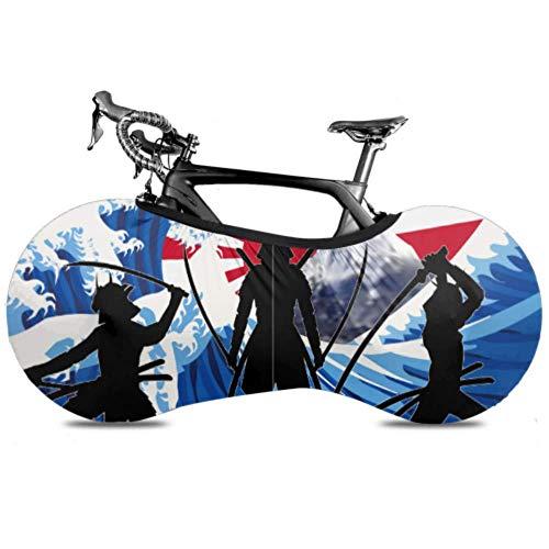 Cubierta de rueda de bicicleta Silueta Japón Samurai Wave Rising Sun Bicicleta antipolvo Bolsa de almacenamiento en interiores Paquete de neumáticos de alta elasticidad lavable y resistente a los ara