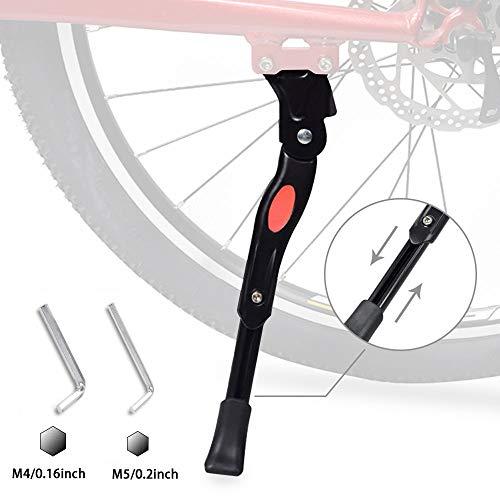 trounistro Fahrradständer 24-28 Zoll, 5 cm Höhenverstellbar und Universal Seitenständer Rutschfester Gummiständer Parkstütze für Mountainbike, Rennrad, Fahrräder und Klapprad