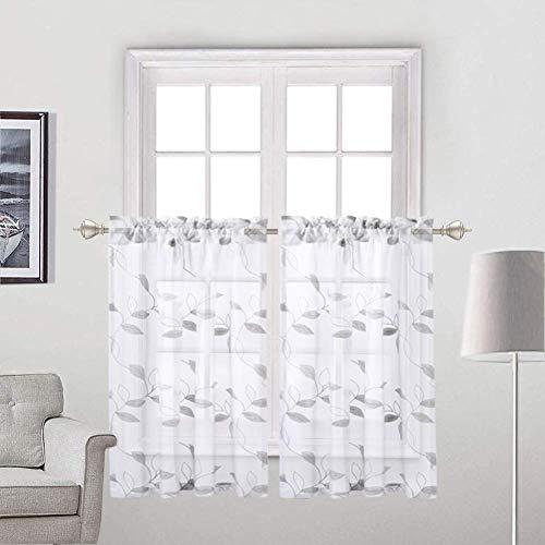 LinTimes krótkie przezroczyste zasłony, kwiatowy sztuczny len teksturowane kuchnia kawiarnia poziomowe zasłony, kieszeń na pręt szary liść wstążka haft wzór okno zestaw do dekoracji salonu, 6 cm x 100 cm, zestaw 2 szt.