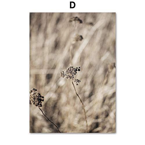 ZJMI Canvas print, natuurlijke tarwe bladeren gele plant lijn Kiss aanbiedingen Nordic poster en print muur kunst canvas schilderijen aan de muur schilderijen voor woonkamer inrichting 50×70cm No frame