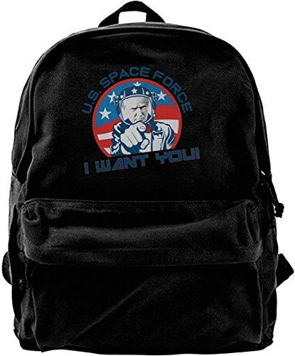 Haloxa Space Force Vintage Unisex Canvas Shoulder Bag Travel Backpack School Bags