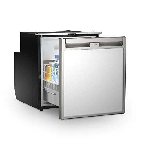 DOMETIC Coolmatic CRX 65D Auszieh-Kühlschrank mit Gefrierfach, 51 l, Front Silbergrau, 12/24 Volt für Wohnwagen, Wohnmobil, Caravan + Boot