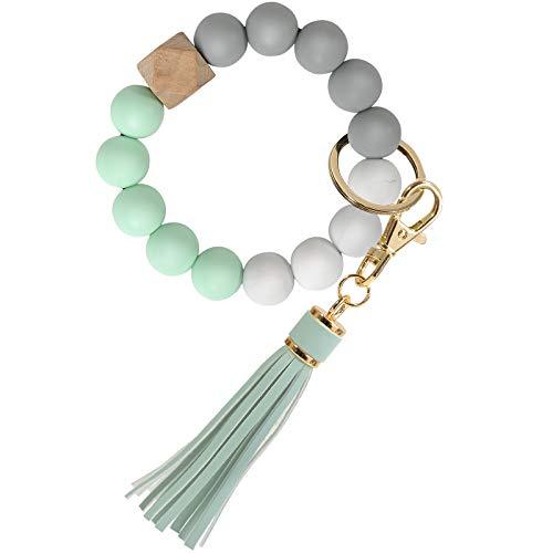 Wrist Keychain, YUOROS Stretchy Beaded Keyring Bracelet Tassel Key Holder for Women (Green)