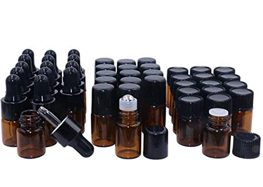 Amber Glass Essential Oil Bottles,2ml 15 Pack,Kit Included:Stainless Roller Ball Bottle,Eye Dropper Bottles,Aromatherapy Oil Bottles,2x Mini Droppers+1xOpener Sample Vials For DIY Essential oil Blends [並行輸入品]