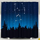 Jacrane Waterproof Fabric Bathroom Décor Shower Curtains Liner with Hooks Constellation Orion 66X72Inch