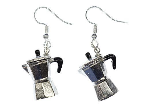 Miniblings Espresso Kanne Ohrringe Italien Kaffeekanne Kaffee Mokka Kaffeemaschine - Handmade Modeschmuck I Ohrhänger Ohrschmuck versilbert