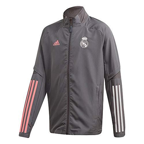 Adidas Real Madrid Temporada 2020/21 Chaqueta con Cremallera Oficial, Niño, Gris, 13/14 años