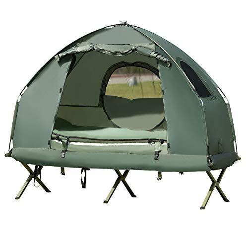COSTWAY Campingbett 1/2 Personen, Campingzelt inkl. Schlafsack, Matratze, Tragetasche Kuppelzelt wasserdicht, Zeltliege für Wanderungen, Camping & Picknick (1-Personen-Campingbett)