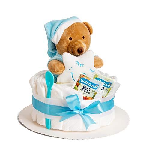 Windeltorte in Blau mit Kuscheltier, perfekt als Geschenk für Jungen zur Baby-Party oder Geburt