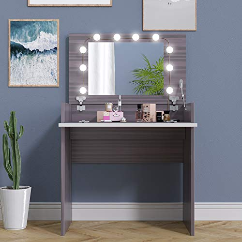 JAXPETY Chic Vanity Table Set w/Flip up Mirror and Jewelry Storage, Wooden Makeup Dressing Table with Adjustable Color Lights Kit, Ebony + White