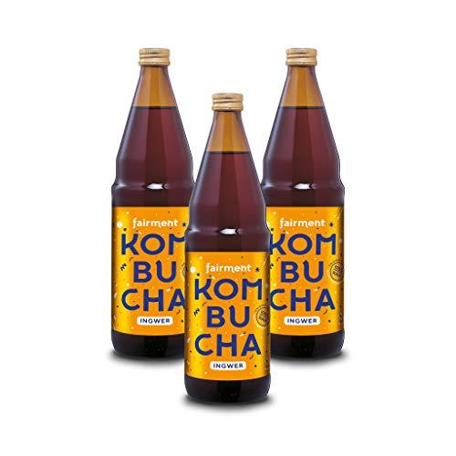 "Fairment lebendiger Kombucha \""Ingwer\"" - 3 Flaschen Bio Kombucha Tee unpasteurisiert"
