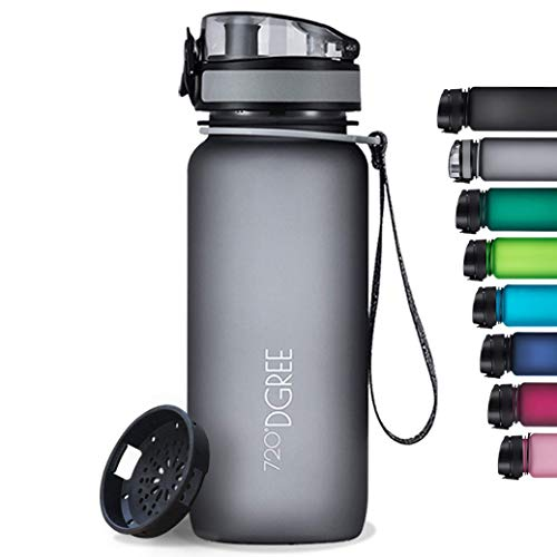 """720°DGREE Water Bottle """"uberBottle"""" - 1 L softTouch +Fruit-Infuser - BPA-Free Tritan, Leakproof, Reusable Drinking Bottle - Sports Bottle for Gym, Running, Fitness, Cycling, Travel, School & Office"""