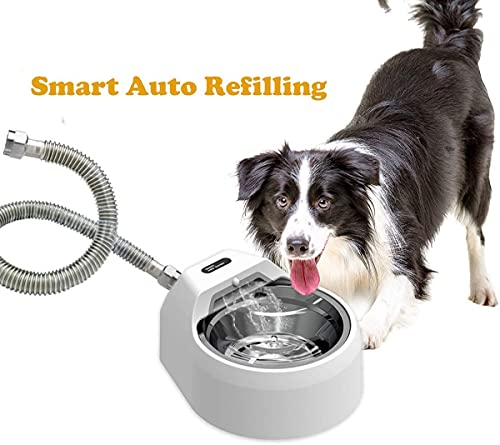 Automatic Outdoor Dog Water Fountain for Pets, Auto Refilling Dog Water Bowl Dispenser Dog Sprinkler Without Step on (L)