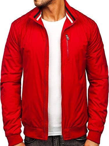 BOLF Herren Übergangsjacke Steppjacke Daunen-Optik Casual Elegant Leichte Frühlings Jacket Moderne Männer Jacke Extreme 1907 Rot L [4D4]
