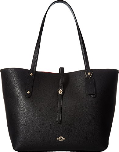COACH Polished Pebbled Leather Market Tote Li/Black/True Red One Size