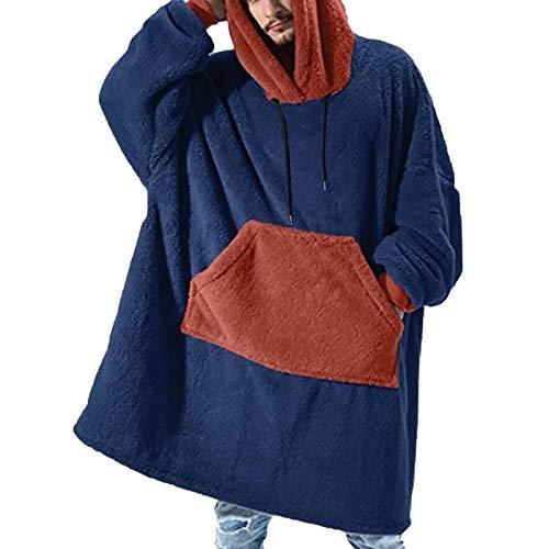 Sudadera con capucha para hombre, de gran tamaño, forro polar, suave, cálida, cómoda, con capucha, para mujeres, niñas, adultos, hombres, niños, familia, a juego, azul, L