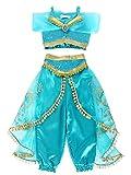 Jurebecia Disfraz de Princesa para Niña Jasmine Vestidos de Fiesta Top con Lentejuelas Conjunto de Pantalones Niña Sling Tops Pantalones Largos Trajes de Borla de Tul Cosplay Verde