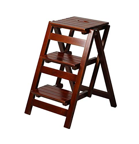 ZHFZD Opvouwbare stappen-houten stap-emel, vouwbaar opvouwbare bibliotheek-stap-emel, multifunctionele houten keuken-bureau met gebruik van de ladder, 3 stappen. Size E