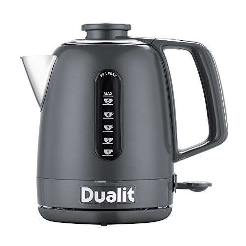 Dualit Domus Kettle   1.5 L 3KW Jug Kettle   Grey   Dual Measuring Windows   Fast Boiling Kettle With Patented Sure Pour™ Technology   BPA Free Electric Kettles