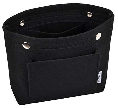 Vercord Mini Slim Small Felt Purse Organizer Insert Inside Handbag Tote Pocketbook for Women Black