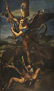 TOPofART Raphael (St. Michael Overwhelming The Demon, 1518) Canvas Art Print Reproduction (21.7x12.7 in) (55x32 cm)