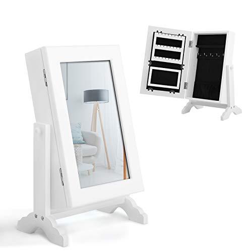 DREAMADE Mini Schmuckschrank Schmuckkasten mit Spiegel, Schmuckspiegel Standspiegel Weiß, Schmuck Schränkchen Kosmetikspiegel für Schmuck Aufbewahrung, Holz