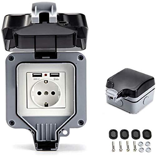 Enchufe IP66 con puertos USB, enchufe eléctrico impermeable de pared exterior con...