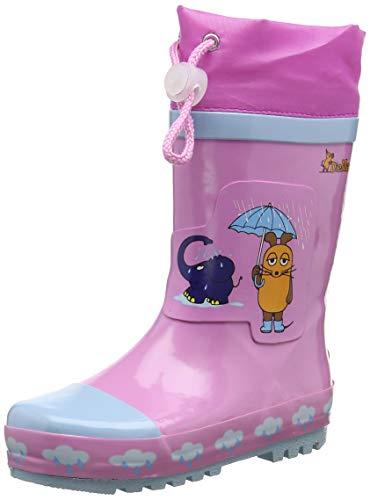 Playshoes Kinder Gummistiefel aus Naturkautschuk, trendige Unisex Regenstiefel mit Reflektoren, Pink, 28/29 EU