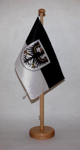 Buddel-Bini Ostpreussen Ost Preußen Tischflagge 15x25 cm in Profiqualität, mit 42 cm Massivholz - Tischständer