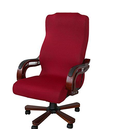 Funda para silla de escritorio de Zyurong, extraible, lavable, proteccion para tu silla de oficina, giratoria y de escritorio, tamano S (solo incluye la funda), rojo vino, Large