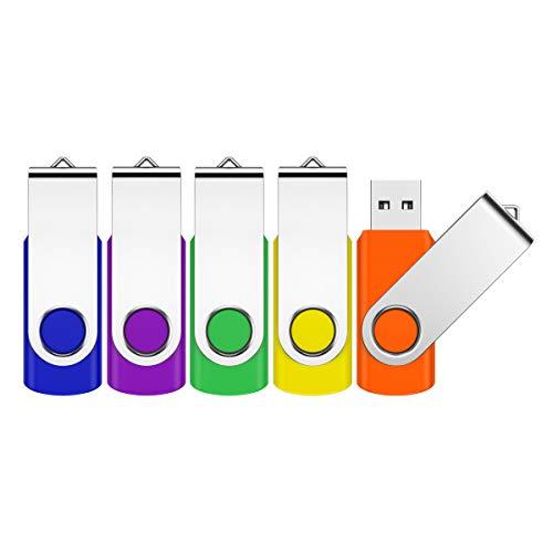 Jevdes USB-Speicherstick, 32 GB, drehbar, USB 2.0, mit LED-Anzeige, 5 Stück