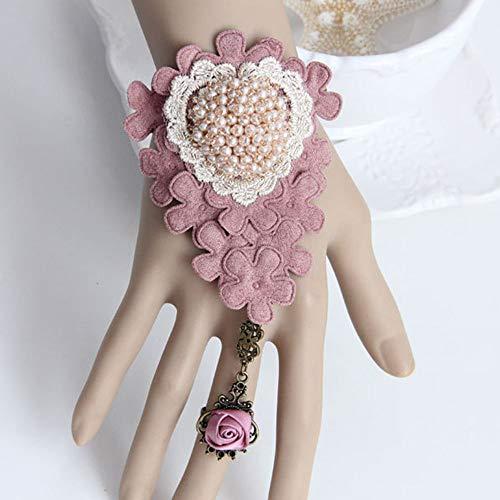 JASIN Kanten Armband Ring, Mode Liefde Hart Armband met Kersenbloesems