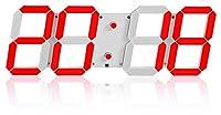 目覚まし時計多機能3DステレオデジタルLEDの壁掛けのリモコン感光クロック 掛け時計 ZJSXIA (Color : Red)