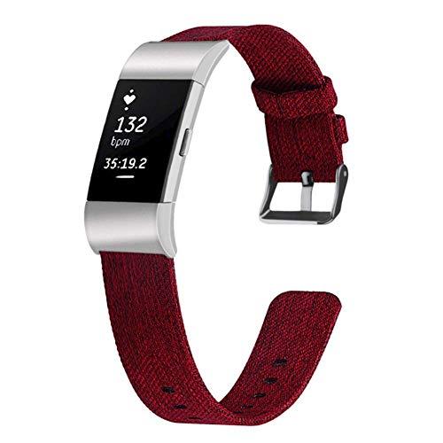 Longzhuo Horlogeband voor dames en heren, nylon, geweven nylon, compatibel met Fitbit Charge 2 L rood