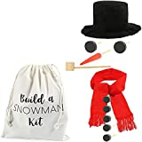 Blue Panda Build Your Own Snowman Making Kit with Storage Bag for Kids, Outside Winter Fun (12 Pieces)