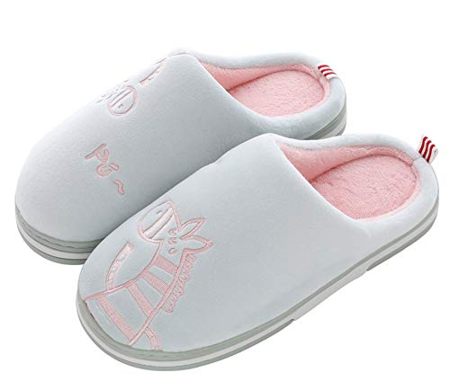 CELANDA Zapatillas de Casa para Mujer Hombre Cálido Zapatos de Estar Otoño Invierno Interior Casa Slippers Suave Algodón Zapatilla, B Verde Gris,37/38 EU = 38/39 Talla Fabricante