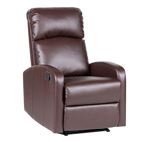 SVITA LEX Relaxsessel Fernsehsessel Ruhesessel mit Verstellbarer Beinablage und Liege-Funktion – Kunstleder Farbwahl (Braun)