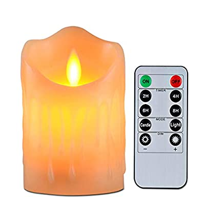 """Flameless Candles with 10 Key Remote Timer Flickering Tear Wave Shaped Tealight Size 3"""" 4"""" 5"""" 6"""" 7"""" 8"""" Real Wax Simulate Dripping led Candles Battery Operated Safe for Indoor Outdoor Decor"""