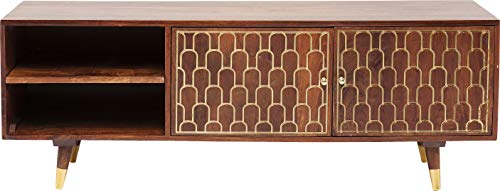 Kare Design TV - Board Muskat, 2 Türen und 2 Fächer, braun mit Goldenen Akzenten an der Schrank Front, Retro Look, Vintage Look, (H/B/T) 50x140x35 cm