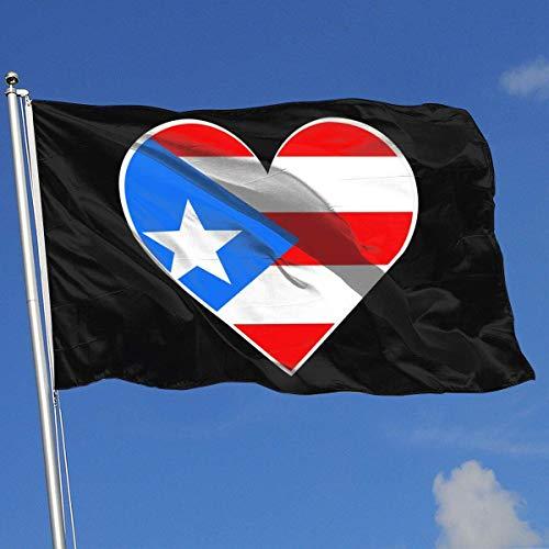 Xhayo Drapeaux Flag of Puerto Rico Heart Banner Flag Decor Flag Outdoor Garden Flag 3'X5' House Banner