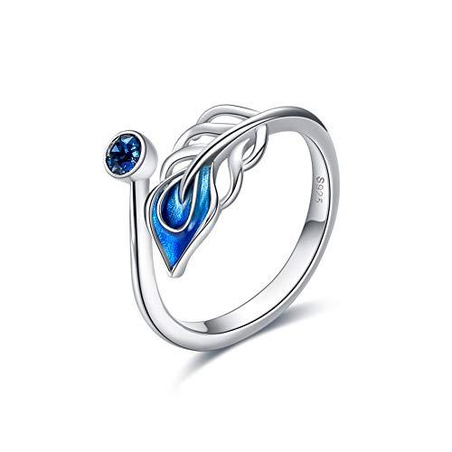 VONALA Feder Ring für Damen S925 Sterling Silber Blau Feder Ringe Erstellt Saphir Geburtsstein Ring September Geburtstags Geschenke für Dame Frauen Mädchen