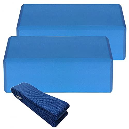 JUQIAO 2 Bloques De Yoga Y 1 Cinturón De Yoga De Algodón con Bloque De Estabilidad Deportes De Interior Pilates Meditación Fitness Accesorios