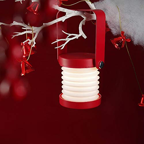 Zzyff Noche 3D Lámpara De Cabecera Al Aire Libre De La Lámpara De La Lámpara De Escritorio Llevada Recargable Portátil USB Luz De Luz De La Linterna Creativa (Color : Red)