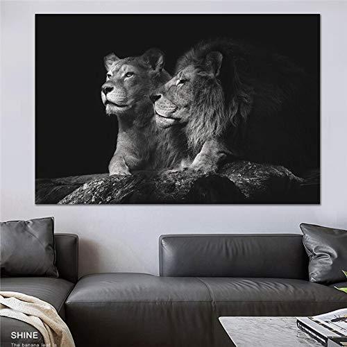 Wenqike Lienzo de León Negro, Pintura de Animales, Cuadros modulares, Arte de Pared, Sala de Estar, sofá, decoración del hogar, Impresiones sin Marco 60x90cm