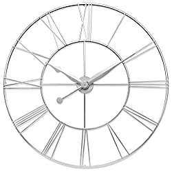 Infinity Instruments Skyscraper XXL Oversized Wall Clock Metal Roman Numeral Clock Numbers 45 inch Huge Wall Clock Open Face Wall Clock (Silver)
