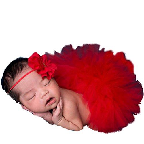 Hengsong Costume de bébé Photographie Prop Infant Bébé Tutu Jupe et Bandeau Set 8 Styles (Rouge)